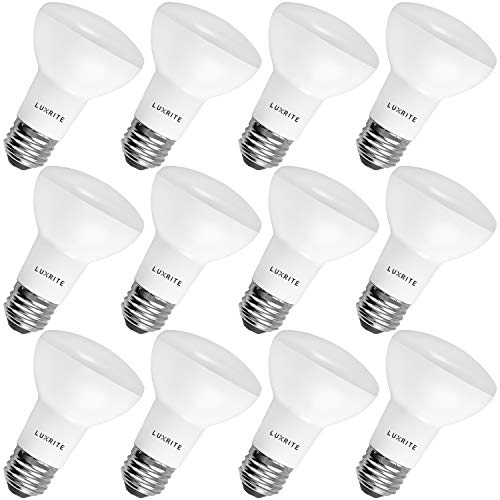 12-Pack BR20 LED Bulb, Luxrite, 45W Equivalent, 3500K Natural White, Dimmable, 460 Lumens, R20 LED Flood Light Bulb, 6.5W, E26 Medium Base, Damp Rated, Indoor/Outdoor - Recessed and Track Lighting