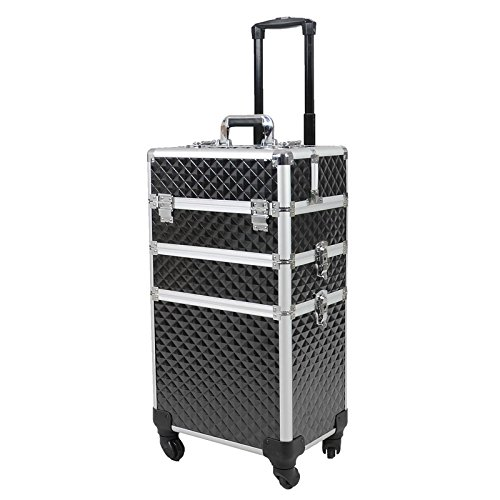 Topwigy Rolling Cosmetic Case Universal Wheel 3 in 1 Professional Multifunction Artist Rolling Trolley Beauty Train Case 4-wheel Cosmetic Box Wheeled Makeup Box Cosmetic Organizer(Black Water Cube) by Topwigy