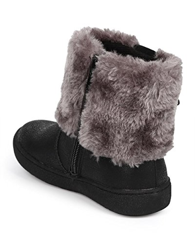JELLY BEANS Metallic Fur Rhinestone Zip Winter Boot (Toddler/Little Girl) DC67 - Black (Size: Toddler 10) by JELLYBEANS (Image #2)