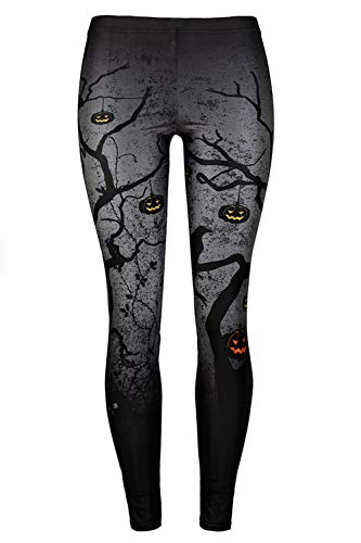 GLUDEAR Women's Halloween Print High Waist Leggings Stretch Full Length Tights Workout Pants,Dead Tree,L/XL