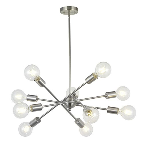 Modern Sputnik Chandelier Lighting 10 Lights with Adjustable Arms Mid Century Brushed Nickel Pendant Lighting for Foyer Living Room Kitchen by BONLICHT Review