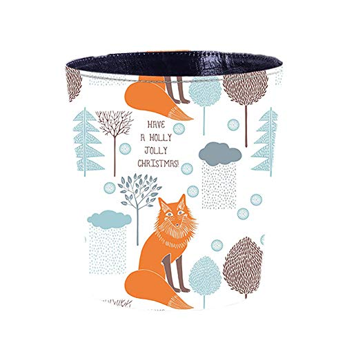 (Cratone Creative Trash Can Leather Storage Bucket Round Wastebasket PU Coverless Trash Bin Household Dustbin Garage Can Waste Basket for Office Bedroom Storage 26×26×20cm (Fox))