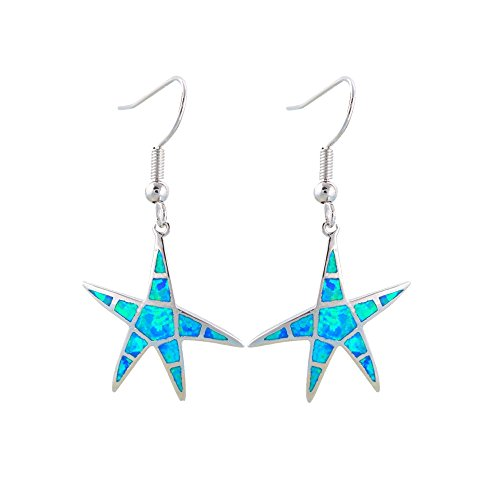 - Blue Pearls - Blue Opal Dangling starfish Hooks Women Earrings and Silver Plated - BPS 0826 Y- Blue Pearls - BPS 0826 Y