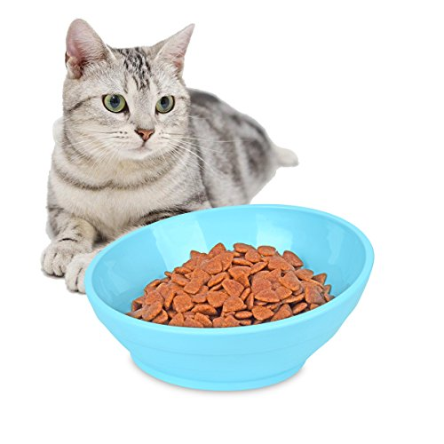 PERSUPER Slanted Dog Bowl Cat Food Bowl – Tilt Pet Dog Feeder Cat Water Bowl with No Spill Wide Mouth Anti-Skid Dog Food Cat Bowl Pet Sterile Tableware Supplies