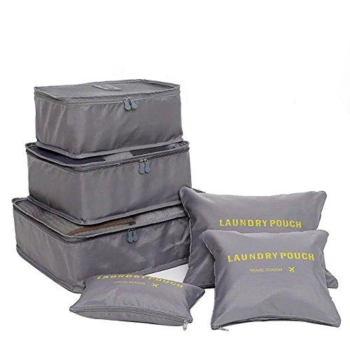 FunYoung Kleidertaschen-Set 6-teilig Reisetasche in Koffer Wäschebeutel Schuhbeutel Kosmetik Aufbewahrungstasche Farbwahl (Grau)