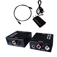 Easyday Digital to Analog Audio Converter with Digital Optical Toslink and S/pdif Coaxial Inputs and Analog RCA and AUX 3.5mm (Headphone) Outputs - 6 Foot Heavy Duty Optical Toslink Cable with Gold Plated Connector Tips Included
