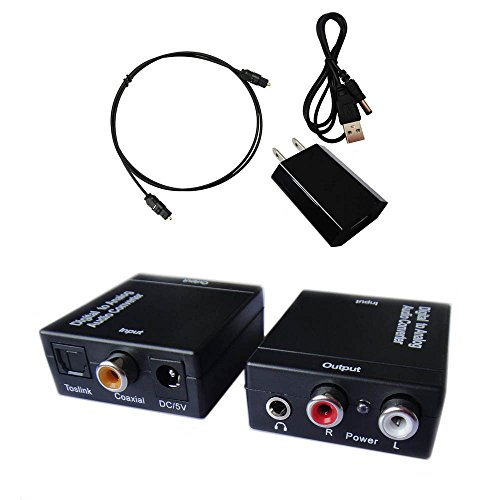 ... Coaxial Inputs and Analog RCA and AUX 3.5mm (Headphone) Outputs - 6 Foot Heavy Duty Optical Toslink Cable with Gold Plated Connector Tips Included