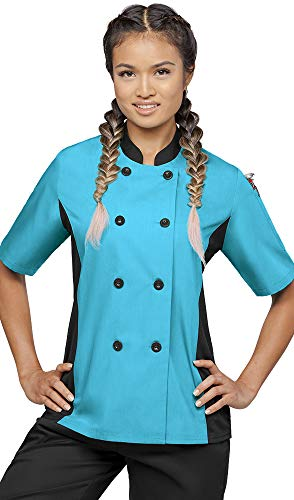 Women's Short Sleeve Chef Coat Mesh Side Panels (XS-3X, 4 Colors) (X-Small, Turquoise/Black)