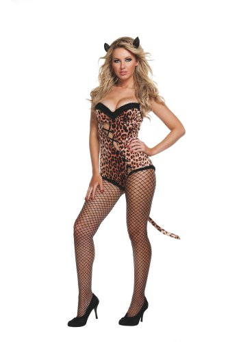 [Starline Women's Sexy Leopard Bedroom Costume, Brown, Medium/Large] (Sexy Leopard Costumes)