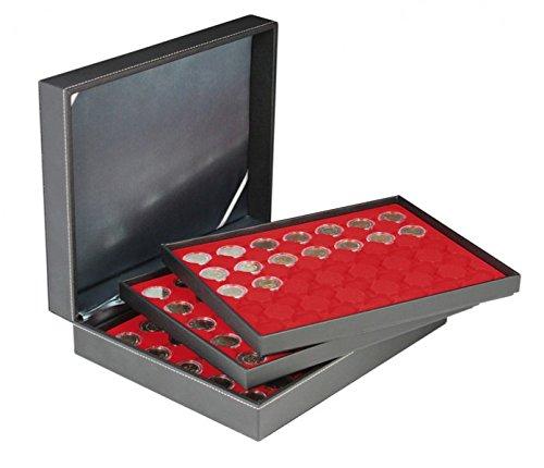 Lindner 2365-2530E Münzkassette NERA XL mit 3 Tableaus und hellroten Münzeinlage für 105 Münzkapseln mit Außen-Ø 32 mm, z.B. für 2 Euro-Münzen in Münzkapseln