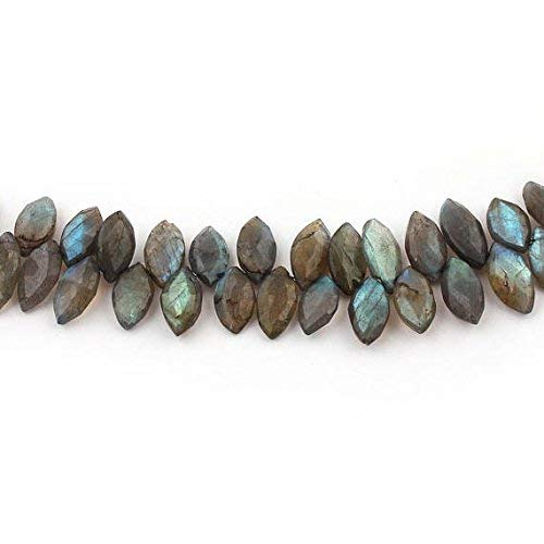 (1 Strand Natural Labradorite Faceted Marquise Briolettes - Labradorite Beads 15mmx8mm-17mmx8mm 8 Inches by Gemswholesale)