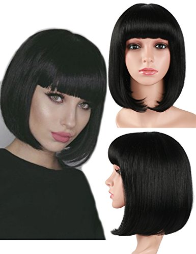 Fani 12 Short Bob Wig Straight Black Synthetic Hair with Flat Bangs for Women Natural As Real Hair (with a Free Wig Cap)