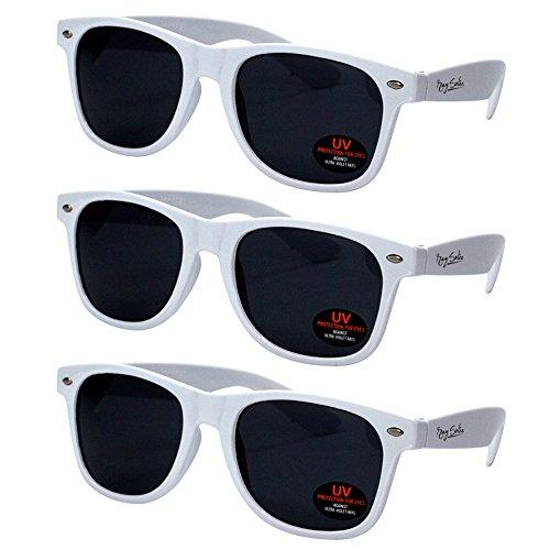 Wayfarer Colored Sunglasses (Wayfarer Sunglasses for Men, Women & Kids by Ray Solée- 3 Pack White)