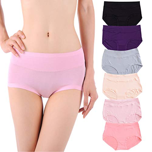 Women Underwear Cotton Hipster Granny Panties Brief 6 Pack Mid Rise Breathable Soft Comfort Bottom Stretch Ladies Underpants S/5