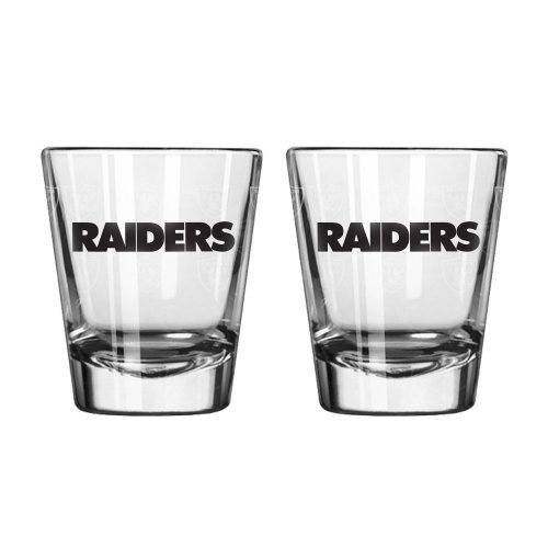 (NFL Football Team Logo Satin Etch 2 oz. Shot Glasses | Collectible Shooter Glasses - Set of 2 (Raiders))