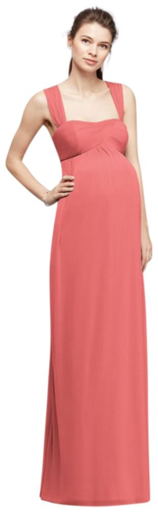 David's Bridal Empire Waist Maternity Bridesmaid Dress with Straps Style F19278, Coral Reef, XL