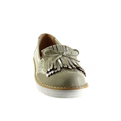 Angkorly - Chaussure Mode Mocassin slip-on plateforme femme frange noeud résille Talon compensé plateforme 3 CM - Vert