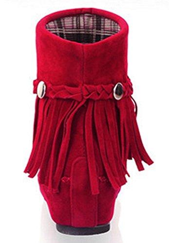 Idifu Kvinna Mode Tofsar Öka Rund Tå Faux Mocka Fotled Tossor Röd