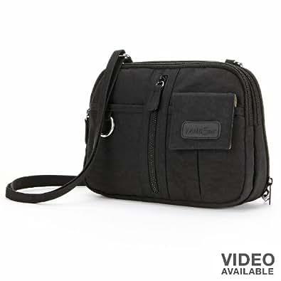 MultiSac Handbags Women's Mini Zip Around Cross-Body Black