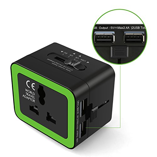 BC Master Travel Adapter, All-in-one Universal Adapter with 2.4A Dual USB, European Adapter Travel Power for Smart Phone/Tablets/Razor,  Power Adapter for UK/EU/AU/Asia (Green)