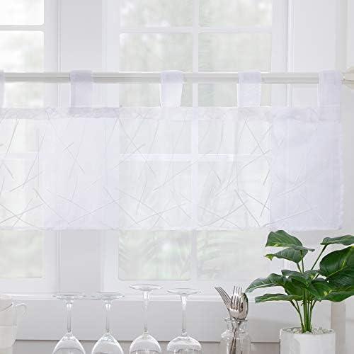 Deconovo Tende Camera da Letto Trasparenti Ricamate Fili in Voile con Occhielli per Casa Moderne 140×80 CM 2 Pannelli Bianco