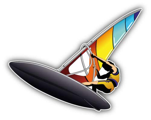 (Crazy Discount Vinyl Sticker Decal Windsurfer for Windows Car Cell Phone Bumpers Laptop Wal, 5'' x 4'')
