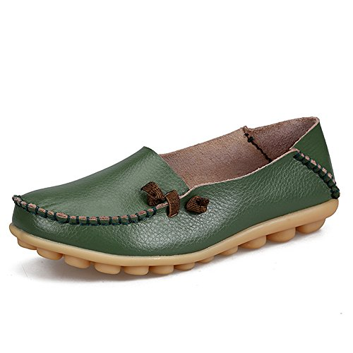 Loafers Leather Army for Womens Genuine Slip Green Shoes Driving Shopping soled Soft Fashion on Flat Casual fereshte WIqR171