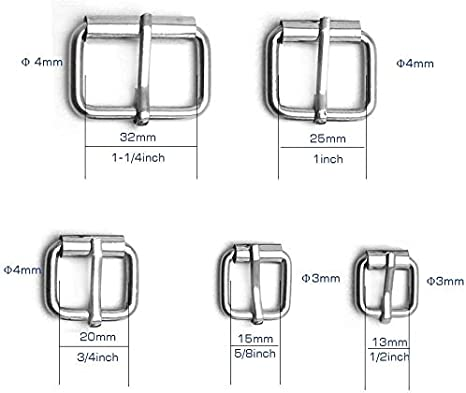 1//2 Inch 50 Pcs Assorted Multi-Purpose Metal Roller Buckles Belts Hardware Pin Buckle for Bags Leather Belt Strap Hand DIY Accessories Silver 1-1//4 5//8 Inch 3//4 Inch 1 Inch
