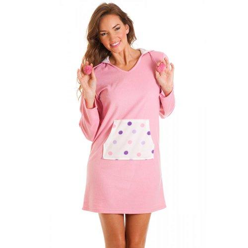 Camisón de forro polar con capucha - Estampado de lunares - Rosa Rosa