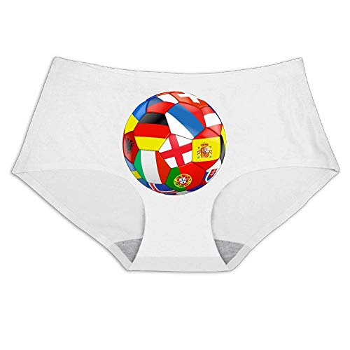 Football with Flags,Smooth Breathable Ice Silk,Underwear Soft Briefs Invisible Panties Women's Full Coverage Bikini (Football Knickers)