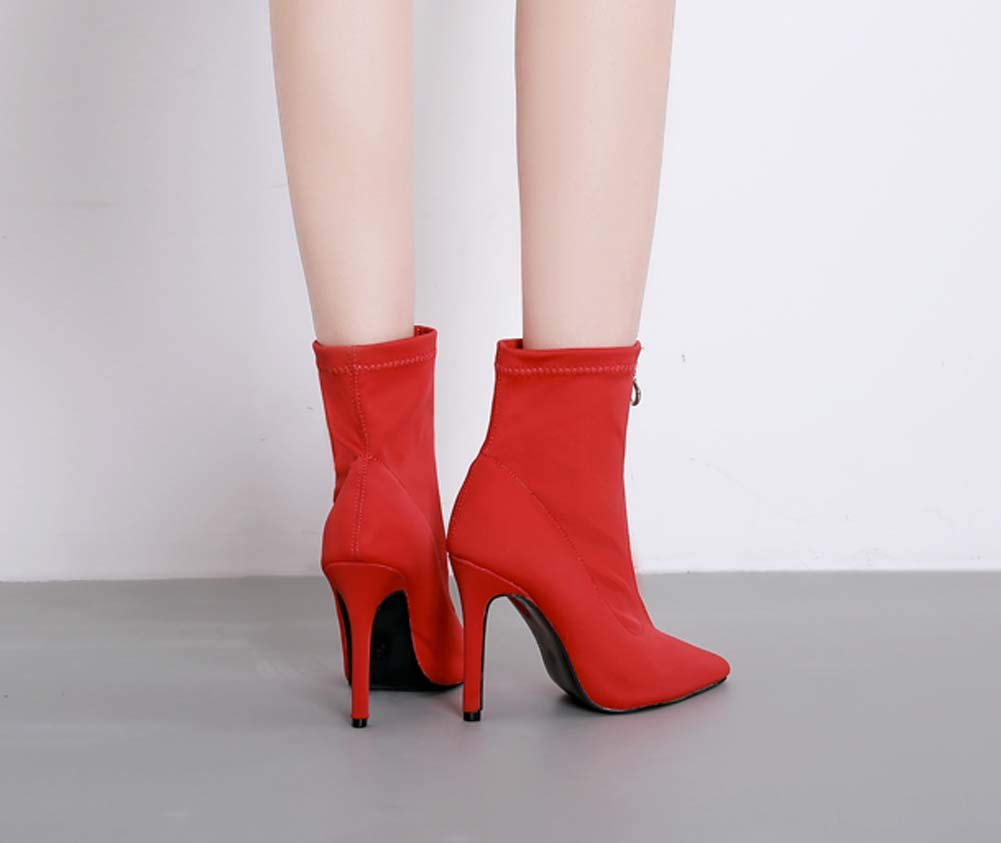 Frauen Stiefel Ladies Zipper Pointed Toe Stiletto rot schwarz High High High Heels Sexy Ankle Frauen Stiefel Party schuhe Platform Faux Lace Stiefel 5fcc98