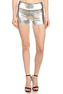 Simlu Womens Sexy Shiny Metallic Wet Loook Mini Booty Made in USA Hot Pants Shorts