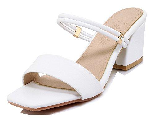 Aisun Mules Femme De Talon Basse Simple Plage Chaussures Bloc Blanc BBgqra8