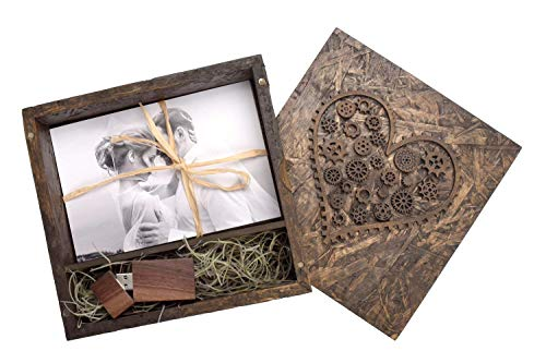 Wedding Photo Box Handmade Rustic Gear Heart USB Box - Paired with Walnut Wooden Flash Drive (32GB 2.0)