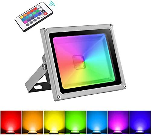20W Foco LED RGB Proyector Exterior, IP65 Impermeable 16 Colores 4 ...
