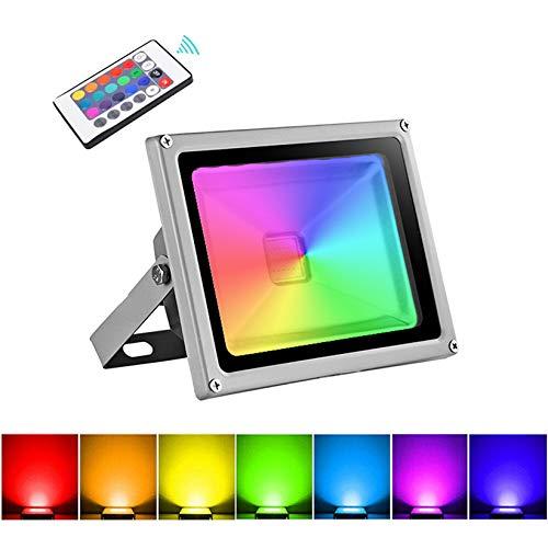20W Foco LED RGB Proyector Exterior, IP65 Impermeable 16 Colores 4 Modos Proyector de Exterior con Control Remoto, Luz de pared Regulable para Jardín, ...