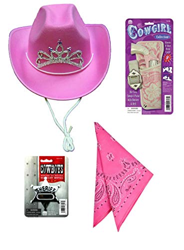 Cowgirl Playset Costume Accessories - Pink Cowgirl Hat with Tiara, Western Toy Cap Gun, Pink Bandana, and Sheriff Badge