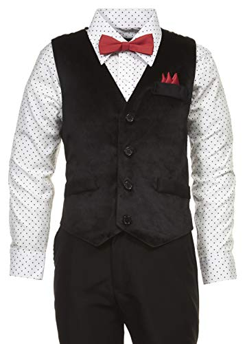 Vittorino Boys 4 Piece Holiday Suit Set with Vest Shirt Tie Pants and Hankerchief, Black/Polka Dot Red, 4