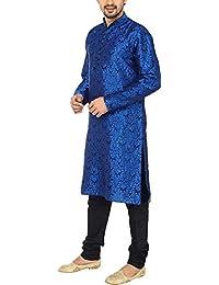 Royal Kurta Men's Self Kurta Silk Blend Churidar Set 42 Blue
