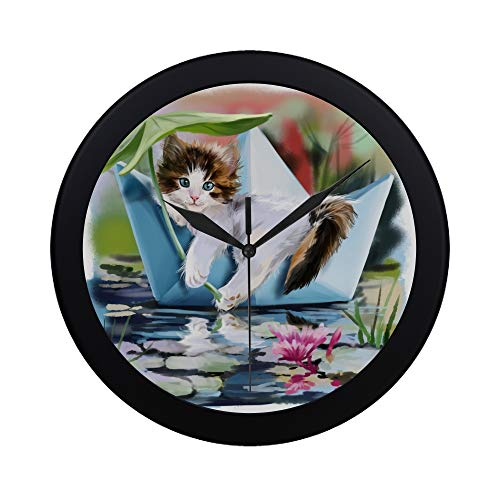 WBSNDB Modern Simple Kitten in A Paper Boat Floating Pattern Wall Clock Indoor Non-Ticking Silent Quartz Quiet Sweep Movement Wall Clcok for Office,Bathroom,livingroom Decorative 9.65 ()