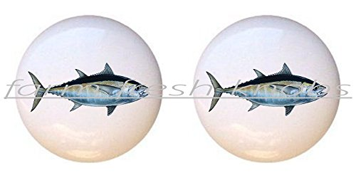 SET OF 2 KNOBS - Blackfin Tuna - Realistic Fish - DECORATIVE Glossy CERAMIC Cupboard Cabinet PULLS Dresser Drawer KNOBS