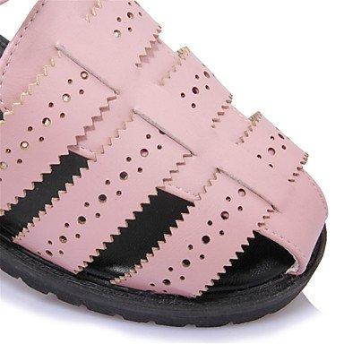 Verano Guantes Mujer Sandalias LÄSSIG vestido de piel sintética de plano de tacón D 'orsay y dos comodidad de color blanco gris rosa rosa