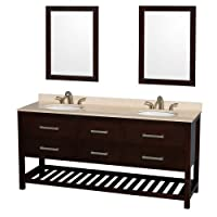 Wyndham Collection Natalie 72 inch Double Bathroom Vanity in Espresso, Ivory Marble Countertop, Undermount Oval sinks, and 24 inch Mirrors