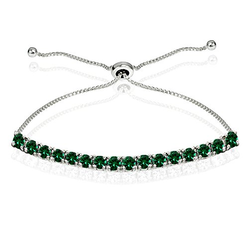 (Sterling Silver 3mm Simulated Emerald Round-cut Chain Adjustable Pull-String Bolo Slider Tennis Bracelet for Women Teens Girls)