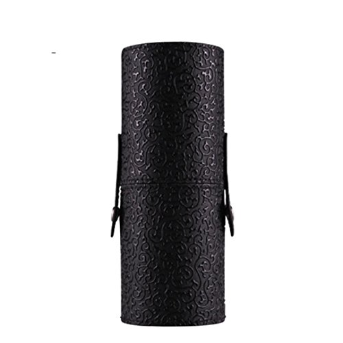 Brush Holder Cup, Misaky Leather Cosmetic Case Portable Storage Makeup Bags Organizer (Black) - Portable Leather Case
