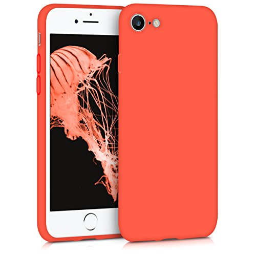 kwmobile TPU Silicone Case for Apple iPhone 7/8 - Soft Flexible Shock Absorbent Protective Phone Cover - Neon Orange