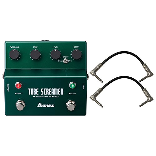 Ibanez TS808DX Vintage Tube Screamer Deluxe Guitar Effects Pedal w/ 2 Patch Cables