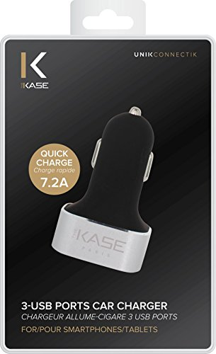 The Kase 36832307 caricatore accendisigari tripla USB per smartphone/tablet 7,2 A Argento