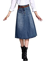 Tanming Women's Middle Long Pleated Denim Skirt