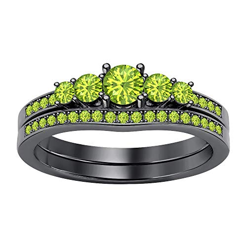- SVC-JEWELS 1.12Ctw 5-Stone Round Cut Peridot 14K Black Gold Plated Engagemet Bridal Wedding Ring Set for Women's